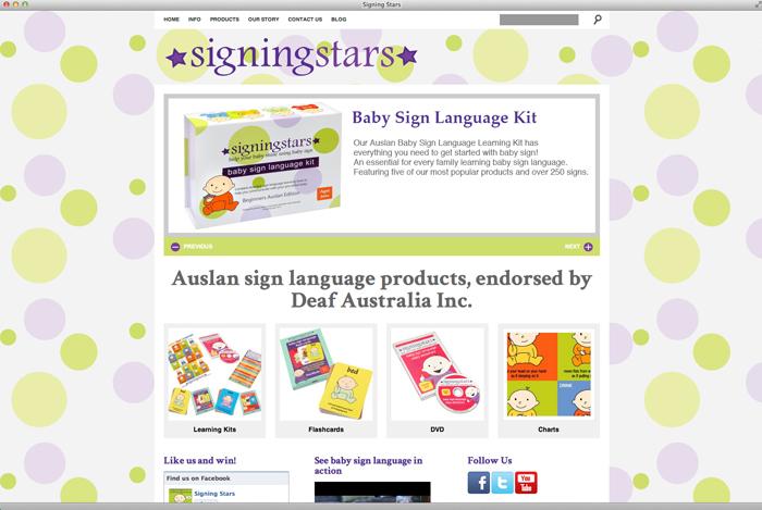 Screenshot of Signing Stars Site