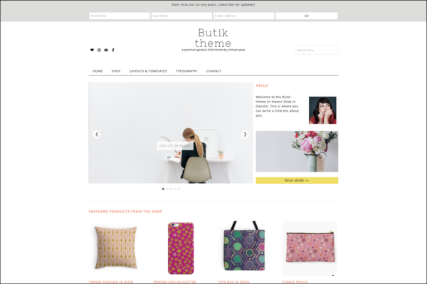 Screenshot of Butik theme